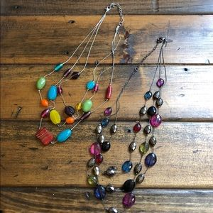 Two multi-colored beaded necklaces